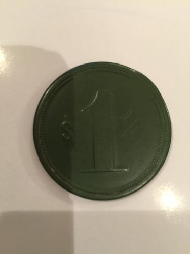 antigua ficha salitrera compañía carmen $1 verde roja 40 mm