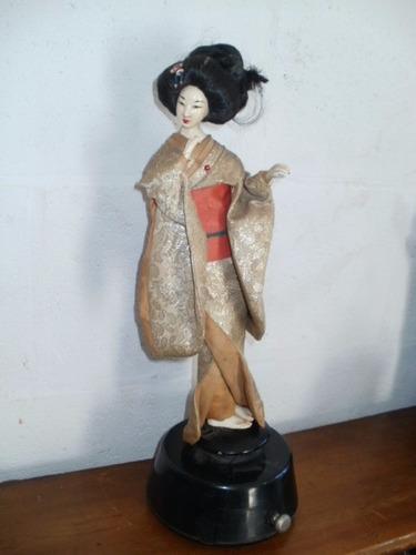 antigua figura china caja musical