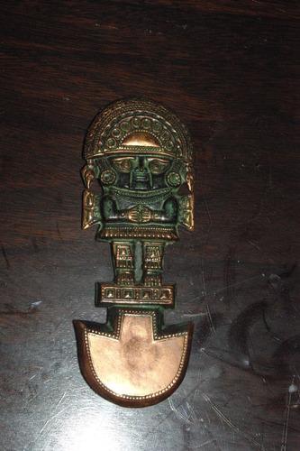 antigua figura de cobre de peru idolo decorativo