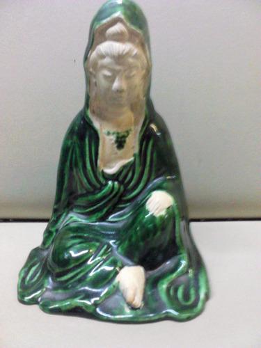 antigua figura diosa oriental guanyin buda teja china sello