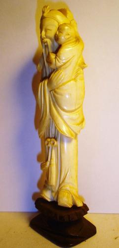 antigua figura  oriental altura 15 cm (3856p)