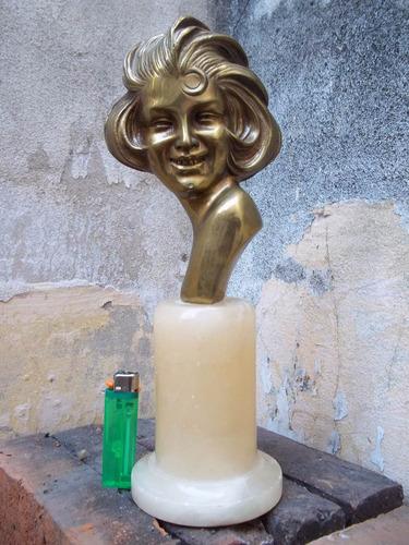 antigua figura rostro mujer bronce base de alabastro