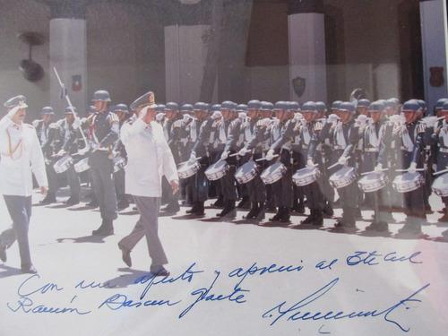 antigua fotografia autografiada del gral pinochet año 1986