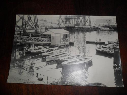 antigua fotografia foto bote puente de la boca  embarcacion
