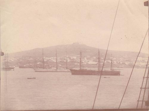 antigua fotografia original  barcos puerto montevideo cerro
