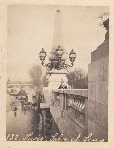 antigua fotografia original vista puente sena paris francia