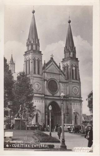 antigua fotografia postal colombo catedral curitiba brasil