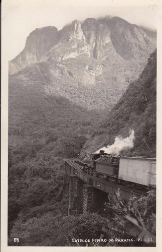 antigua fotografia postal estrada ferrocarril parana brasil
