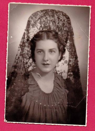 antigua fotografía puebla 1940 dama elegante mantilla - hm4