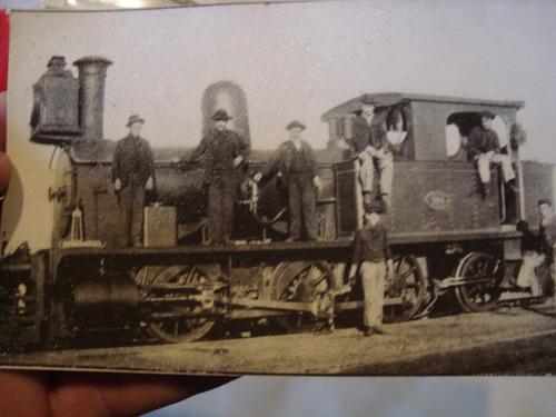 antigua fotografía tren antiguo locomotora 14x9 cm.
