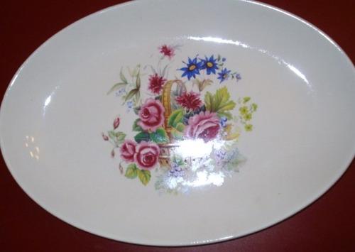 antigua fuente oval motivo floral sellada manchester (344p)