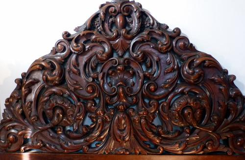 antigua gran cama rococo barroco italiana de 2 plazas