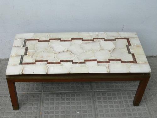 antigua gran mesa ratona americana madera bronce tapa marmol