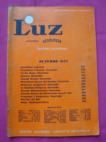 antigua guia educativa sexual  revista luz n° 10 octubre 57