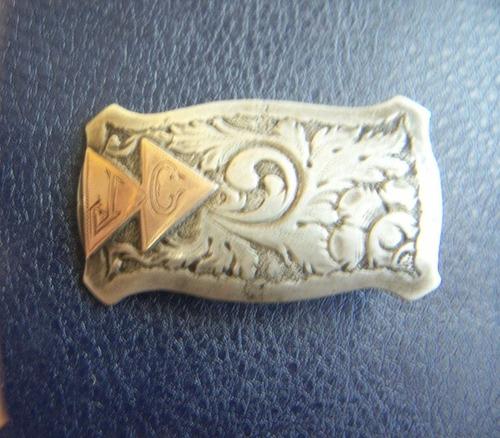 antigua hebilla de plata pequeña - platería criolla
