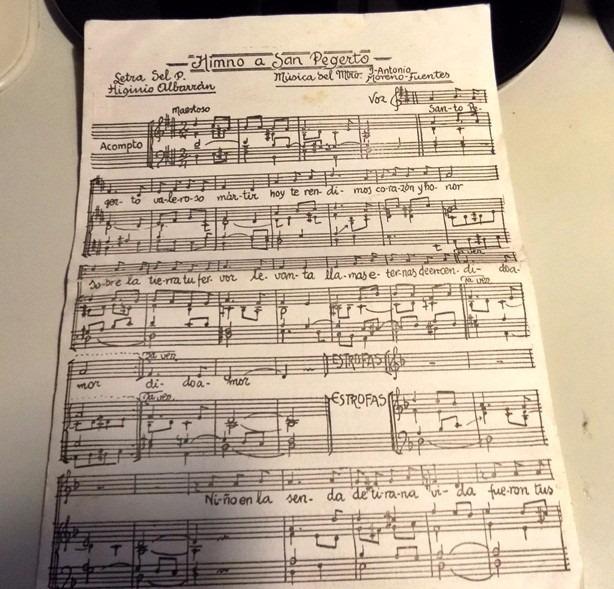 Antigua Hoja Con Musica Del Himno A San Pegerto Con Oracion - $ 45 ...