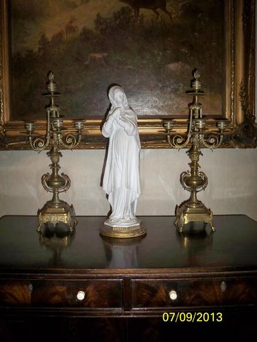 antigua imagen religiosa porcelana biscuit y bronce baño oro