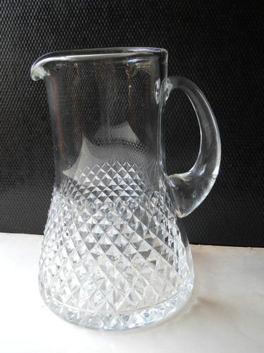 antigua jarra para agua de cristal tallado