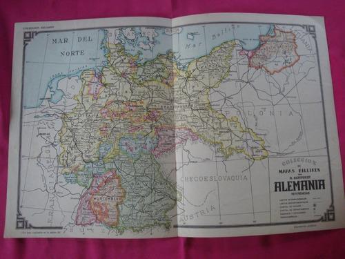 antigua lamina billiken mapa alemania - por a. bemporat