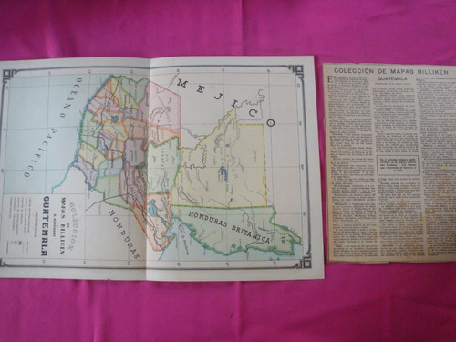 antigua lamina billiken mapa guatemala - por a. bemporat