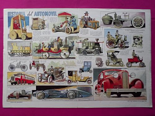 antigua lamina coleccion billiken historia del automovil