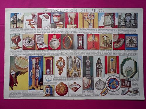 antigua lamina coleccion billiken la evolucion del reloj