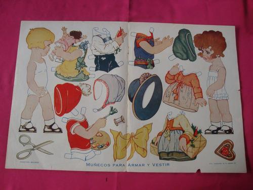 antigua lamina coleccion billiken muñecos para armar vestir
