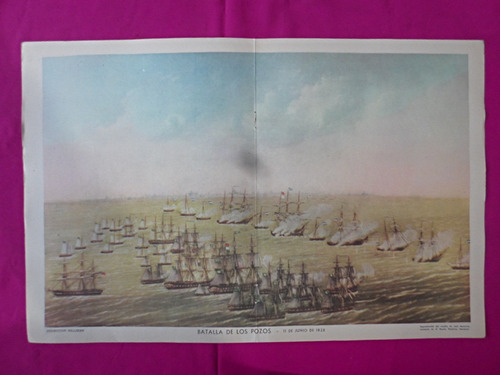 antigua lamina revista billiken batalla de los pozos 11/1826