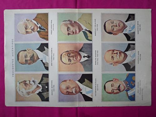 antigua lamina revista billiken presidentes argentinos