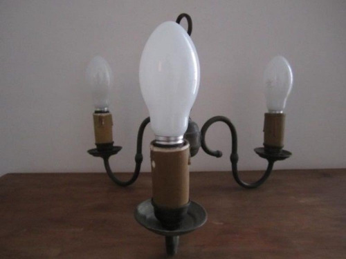 antigua lampara de bronce de 3 elementos ind. arg