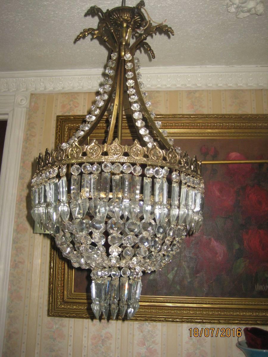 Antigua lampara de bronce y lagrimas de cristal 240 - Lamparas de cristal antiguas ...