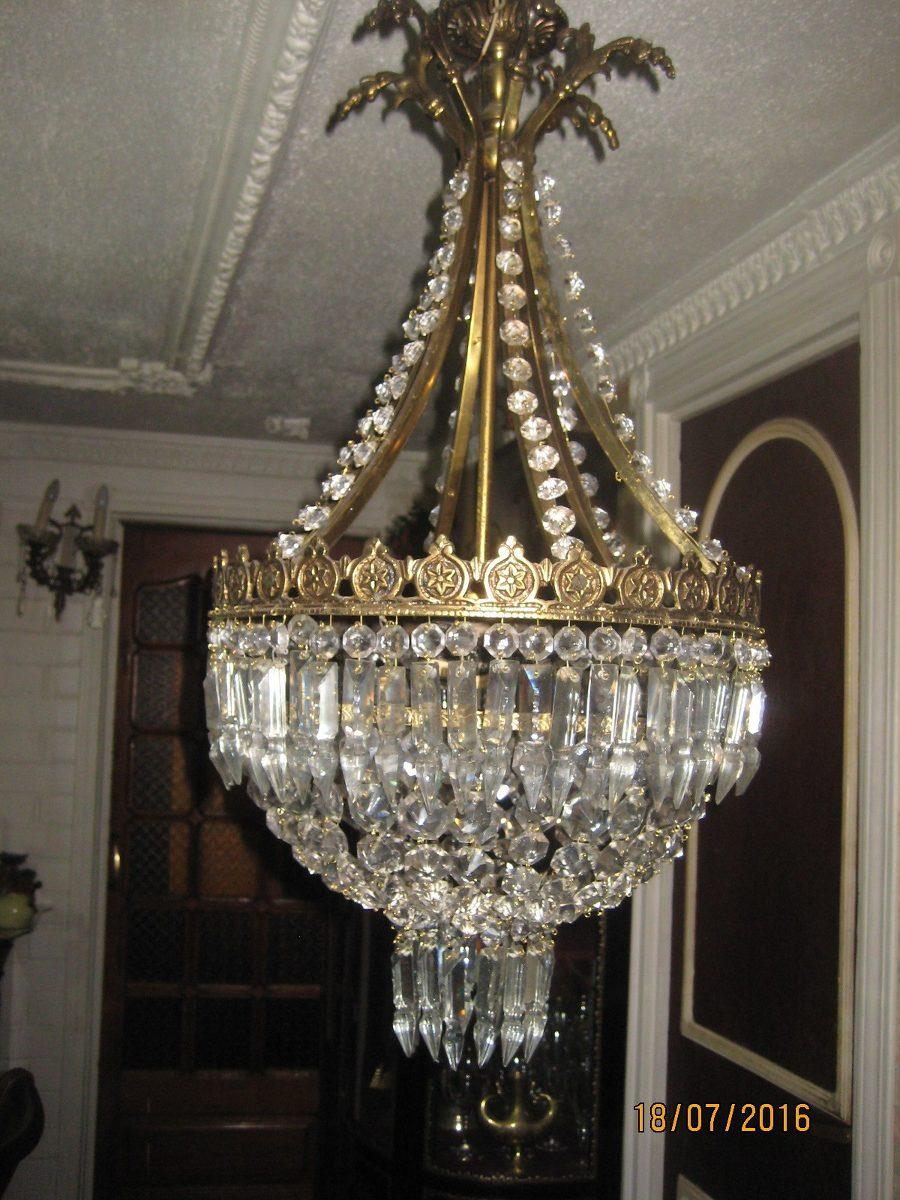 Antigua lampara de bronce y lagrimas de cristal en mercado libre - Lamparas de cristal antiguas ...
