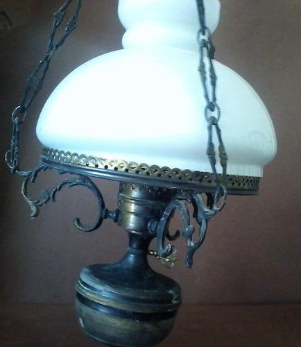 antigua lampara de bronce y vidrio de epoca original oferta
