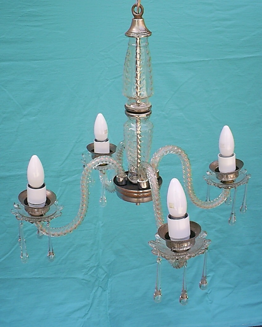 Antigua lampara de cristal 4 brazos y l grimas - Lamparas de cristal antiguas ...