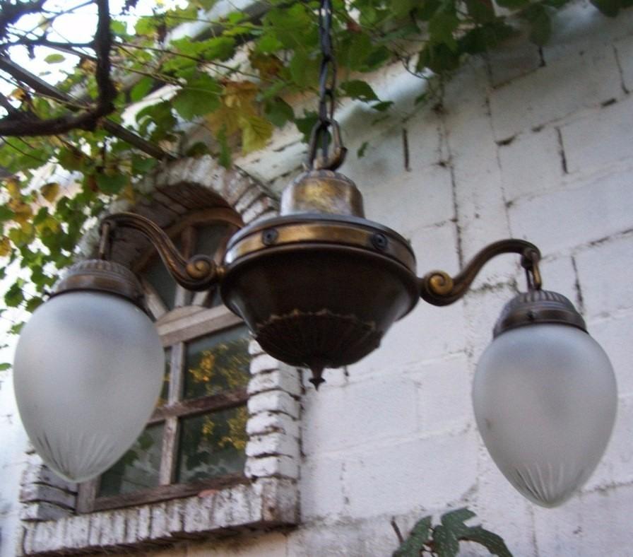 Antigua l mpara de techo bronce labrado cableado nuevo - Lamparas antiguas de techo ...
