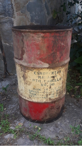 antigua lata barril vidon aceite esso mobil shell coleccion