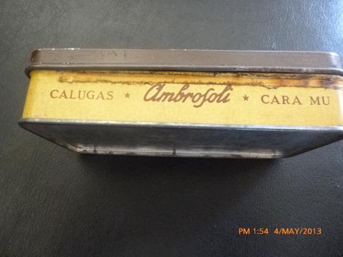 antigua lata calugas cara mu ambrosoli  litografiada