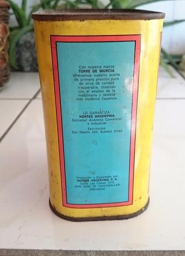 antigua lata de aceite de oliva  torre de murcia  coleccion