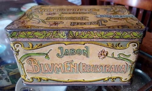 antigua lata jabón blumen francés. art noveau (vacío). 11517