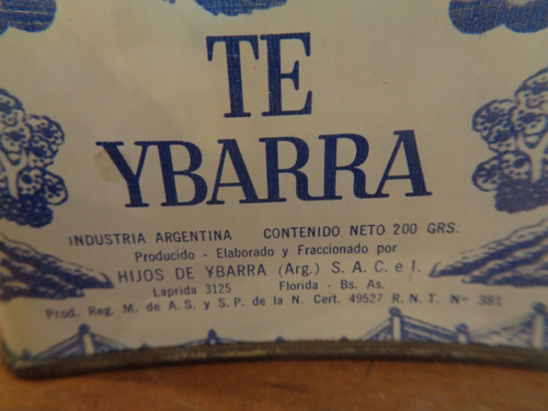 antigua lata litografiada de te ybarra de 1978