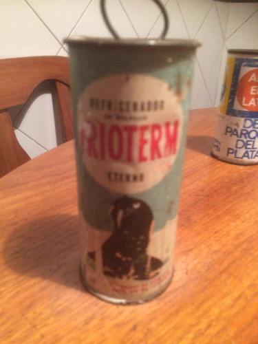 antigua lata vintage , refrigerador de bolsillo. raro