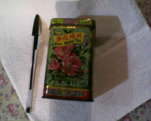 antigua latita de te de rosa negro chino