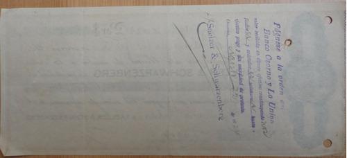 antigua letra  cambio valdivia 1924 banco osorno y la unión