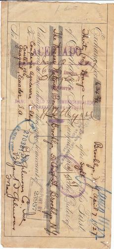antigua letra de cambio the nassau national bank 1.927