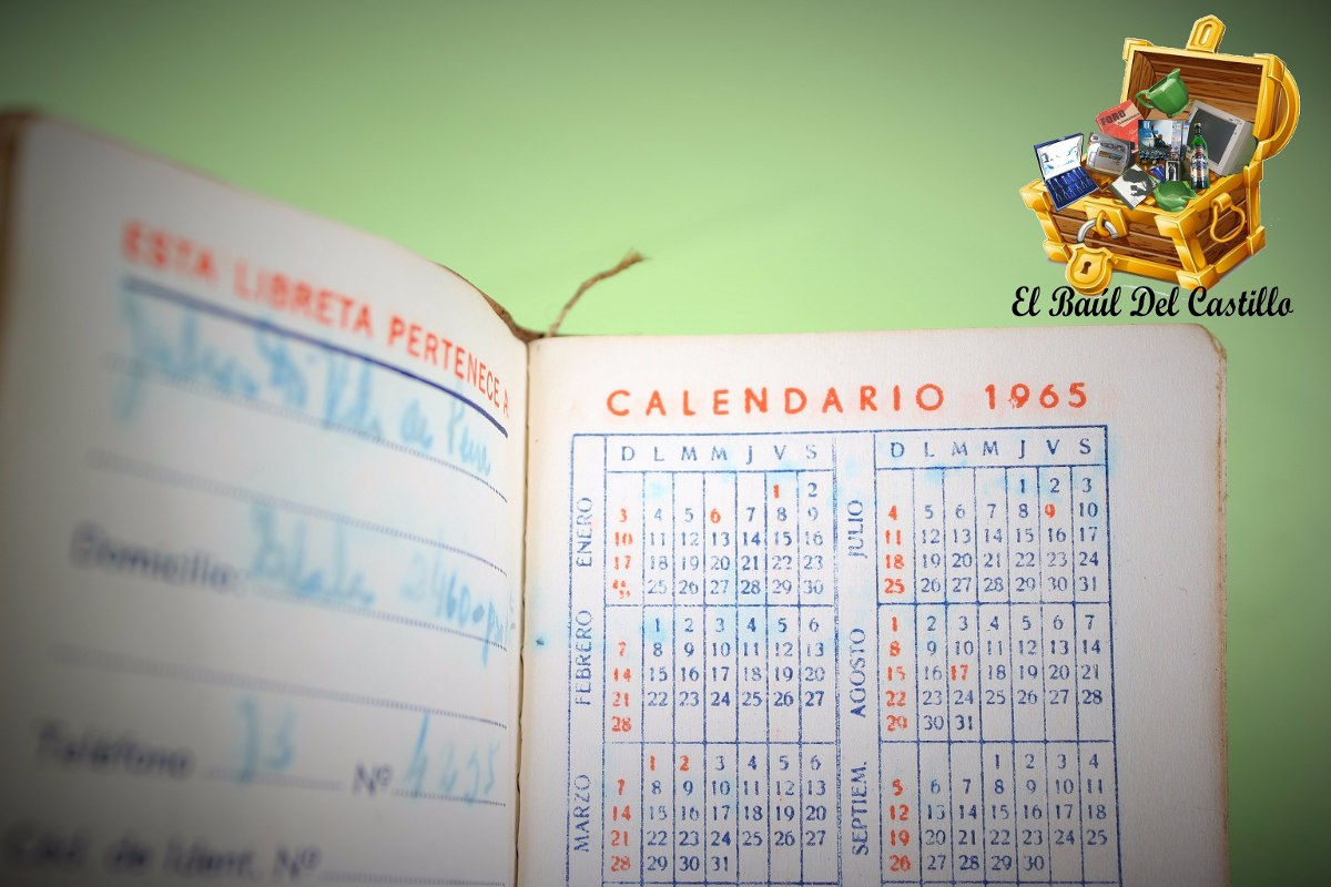 Calendario 1965.Antigua Libreta Calendario De 1965 100 00