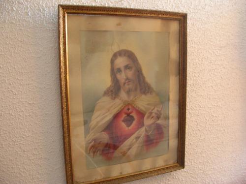 antigua litografia francesa sagrado corazon de jesus