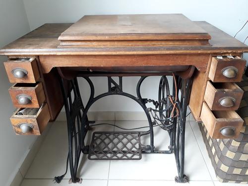 antigua maquina de coser nauman con mesa y mueble 6 cajones