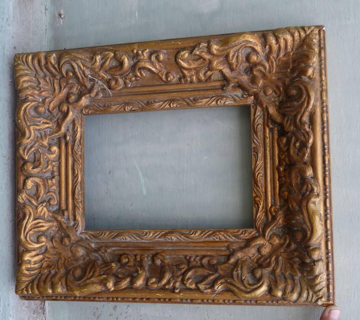 Antigua marco europeo en madera tallada y dorada u s - Pintura dorada para madera ...