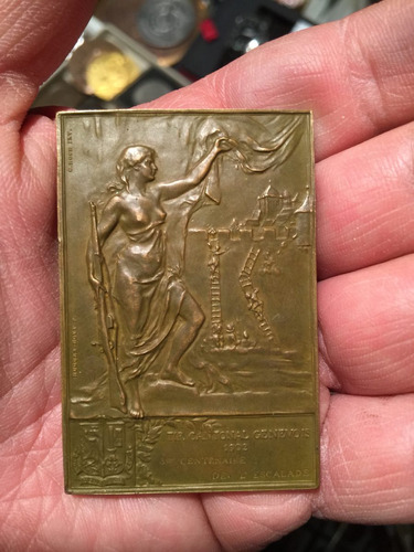 antigua medalla bronce batalla de genova 1602 1902