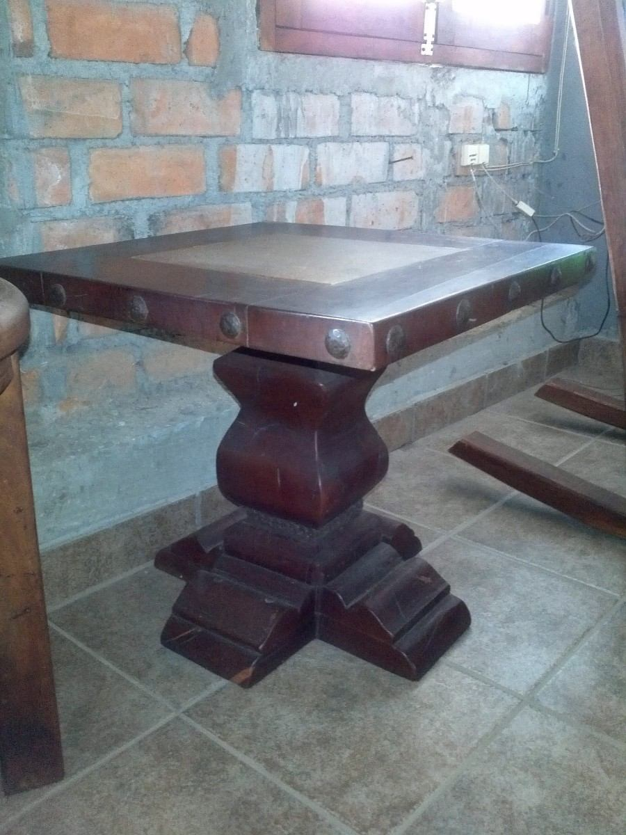 Antigua mesa de centro de madera de mezquite y piedra for Mesa de jardin de piedra